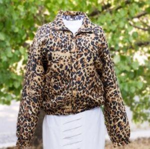 Vintage FUDA Intl Silk Leopard Print Bomber Jacket